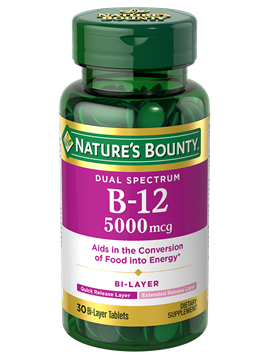 Dual-Spectrum Vitamin B-12 - 5,000 mcg (30 Bi-Layer Tablets) | Nature's Bounty - Be Your Healthy ...