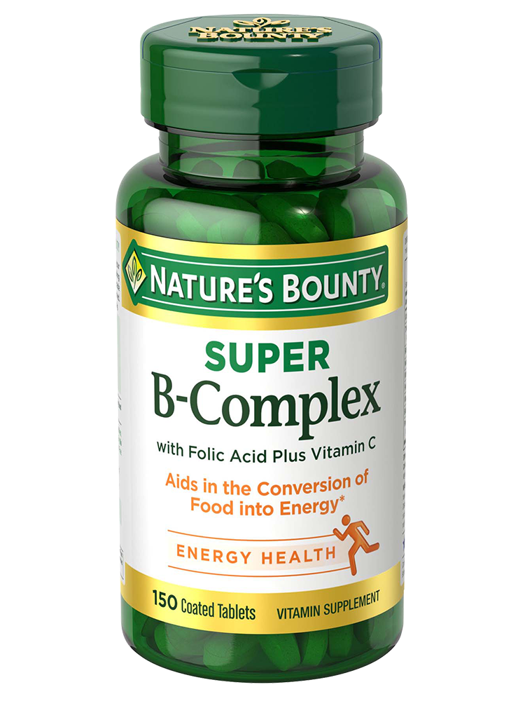 Super B Complex With Folic Acid Plus Vitamin C 150 Coated Tablets Nature S Bounty Be Your Healthy Best